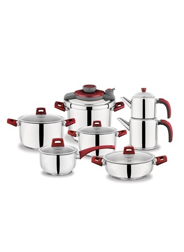 14 Parça Kitchen Chef Çelik Tencere Seti - Kırmızı-Schafer